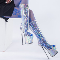 PVC Sexy Boots Women Shoes High Heels Summer Peep Toe Transparent Boots Side Zip Platform Silver Heel Boots Big Size ZapatoMujer