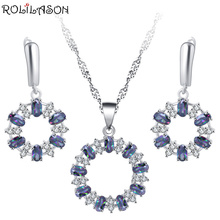 ROLILASON Fashion Rainbow Round 925 silver Set Earrings / Necklace Pendant Anniversary Gift JS794