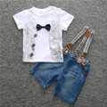Retail 2016 New Summer new boy gentleman suit short sleeve T-shirt + jeans straps pants suit