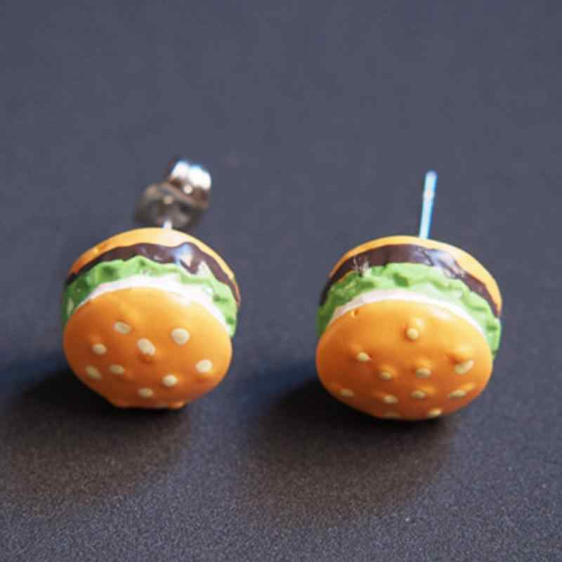 10 Styles Creative Ice Cream Hamburger French Fries Cute Stud Earrings For Women Hot Funny Lovely 3D Jewelry Oorbellen