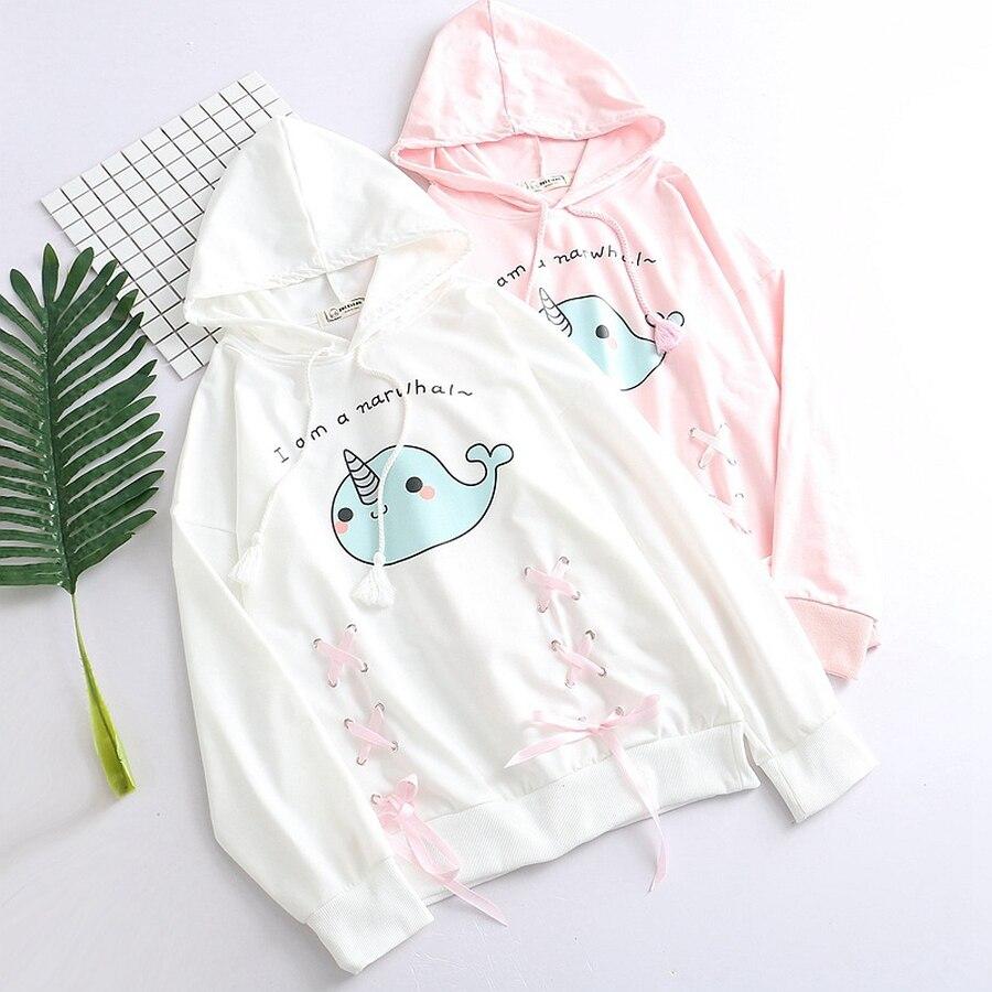 2019 Spring Narwhal Hodies Hooded Long Sleeve Cartoon Cute Printed Girls Whale Sweatshirt Autumn Bow Pullovers Female Kawaii Vp Women's Clothing