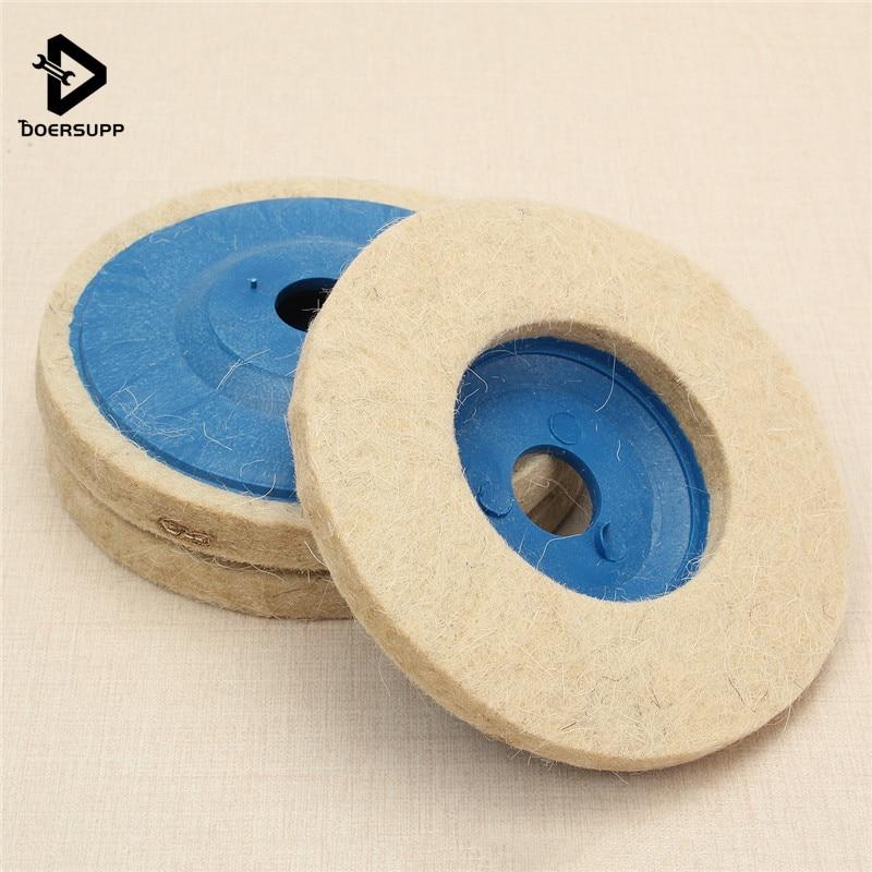 Doersupp 3pcs 100mm 4 Inch Round Grinding Wool Pad Polishing Pad Wheel Felt Buffer Disc Set