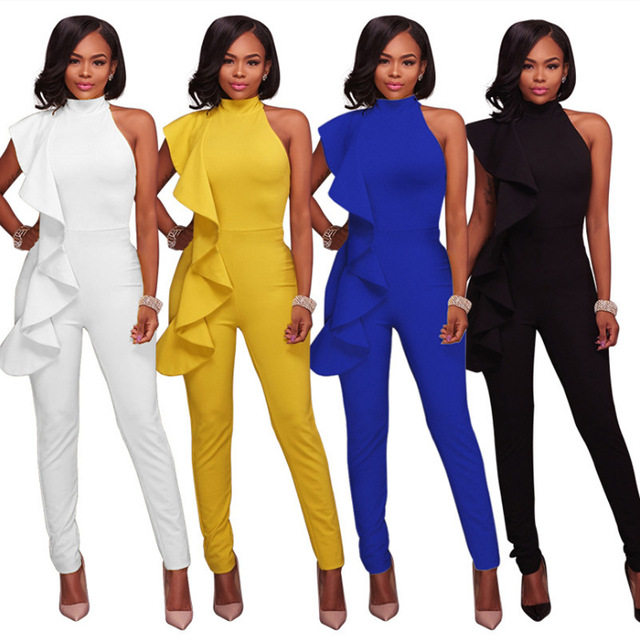 d25d6b8a751a Sexy Ruffles Sleeveless Women Rompers Jumpsuit Pants Summer Clothes White Yellow  Black Blue Lady Office Formal