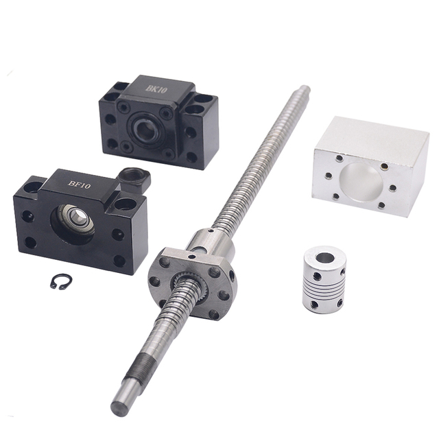 SFU1204 set:SFU1204 L-500mm rolled ball screw C7 with end machined + 1204 ball nut + nut  housing+BK/BF10 end support + coupler