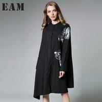 EAM 2017 New Autumn Stand Collar Long Sleeve Black White Irregular Printed Loose Big Size