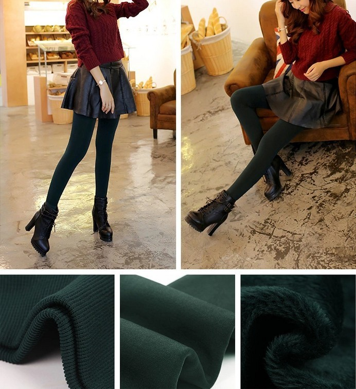 CHRLEISURE Women's Warm Velvet Leggings Autumn-Winter Big Size Candy Colors Thick Faux Knitted Thicken Slim Stretch Legging 18