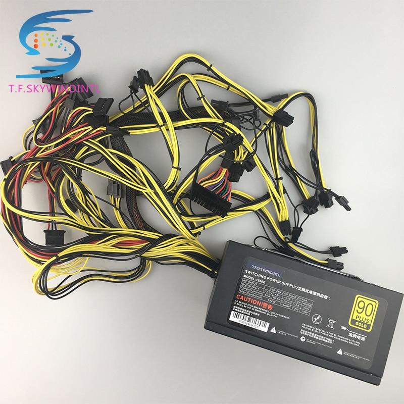 Бесплатная доставка, 1600 Вт pc питания ATX Шахтер Мощность PSU для ATX горные машины Поддержка 6 шт. Графика карты GPU Шахтер Antminer