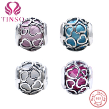 ФОТО 2017 high quality 925 sterling silver heart stone charms fit pandora bracelet with logo diy beads original jewelry making