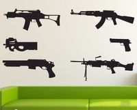 Modello della pistola della parete del vinile della decalcomania diverse pistole army arma mural art wall sticker camera dei bambini ragazzi camera da letto decorazione della casa decorazione