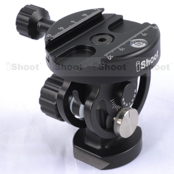 Two-Dimensional Tiltable Ball Head with Removable Quick Release Plate Clamp for Camera Tripod Monopod