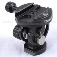 Two Dimensional Tiltable Ball Head with Removable Quick Release Plate Clamp for Camera Tripod Monopod