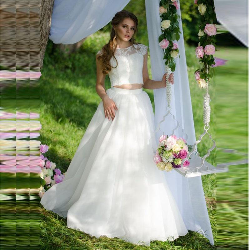 LORIE Two Piece Wedding Dress 2019 White O-Neck A-Line Lace Top Princess Bride Dress Beach Garden Wedding Gown Free Shipping