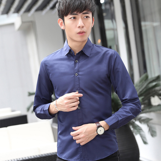 Young Korean Chaozhou Men's White Shirt New Long-sleeved Men's Shirt Pure Color Ironing-free Inch Shirt