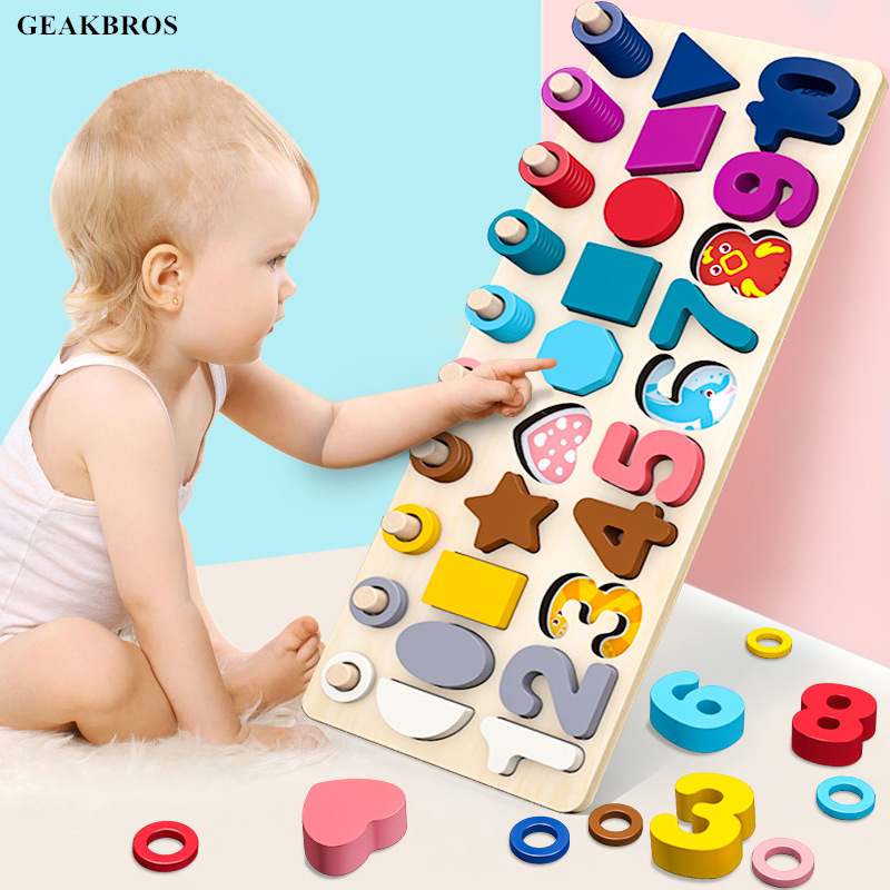 Kids Preschool Wooden Montessori Toys 3 in 1 Logarithmic Board Fishing Game Count Match Children Early Education Teaching Math image