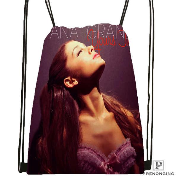 Custom Ariana-Grande @01-Drawstring Backpack Bag Cute Daypack Kids Satchel (Black Back) 31x40cm#180611-03-114