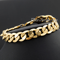Davieslee Fashion 12mm Wide Mens Chain Boys Cut Flat Curb Cuban Gold Filled GF Bracelet DLGB196