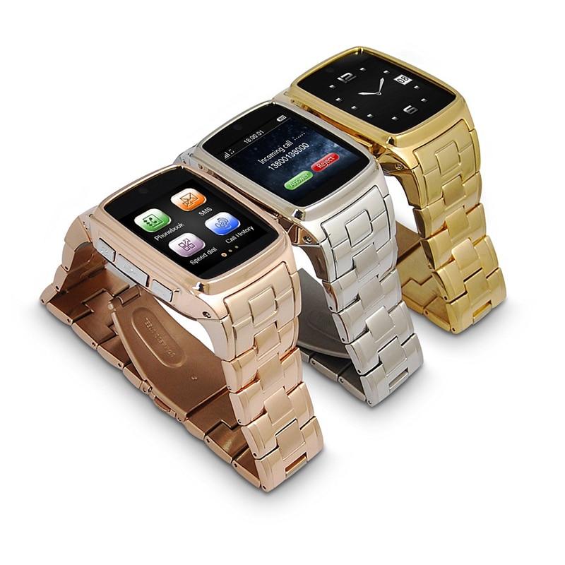 Montre intelligente en métal d'acier inoxydable de haute qualité avec la caméra de carte sim bracelet d'horloge de montre-bracelet de Bluetooth pour l'iphone Samsung