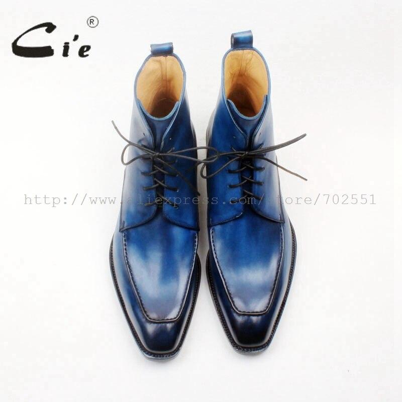 Pie 100 Hombre Botas Soltadas De 155 Mano Pintado Para Azul Personalizado A Becerro Ocultas Piel Color Italiana Goodyear Cuadrado 8rwqH8