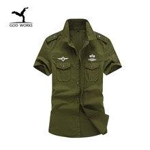M-6XL Plus Size New Casual Mens Camisas de Algodão de Manga Curta Roupas de Marca Slim Exército Militar Camisa De Vestido Dos Homens Camisa Masculina