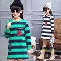 Marca Nueva Primavera Otoño Invierno de Manga Larga Suéter de la Camiseta Muchachas Grandes de Los Niños Sudadera Ropa de Bebé de Lana A Rayas Abrigos Para niños