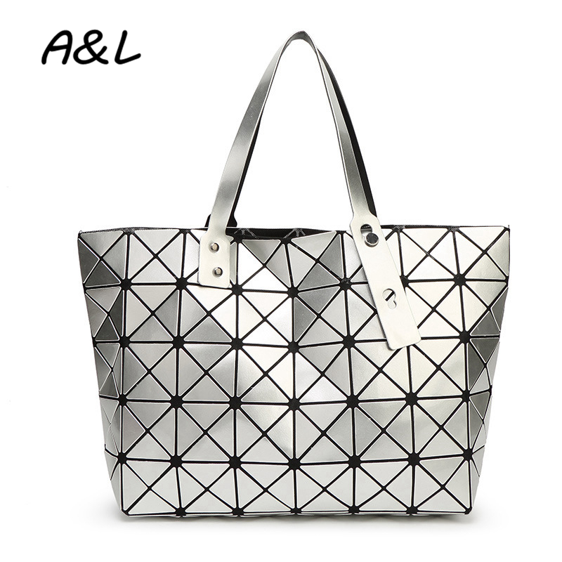 Women Bag Women Geometry Sequins Plaid Handbag Female Gloss Laser Shoulder Bags Lady Large Capacity Tote Sac a Main Bolsas A0185 weiju new canvas women handbag large capacity casual tote bag women men shoulder bag messenger crossbody bags sac a main