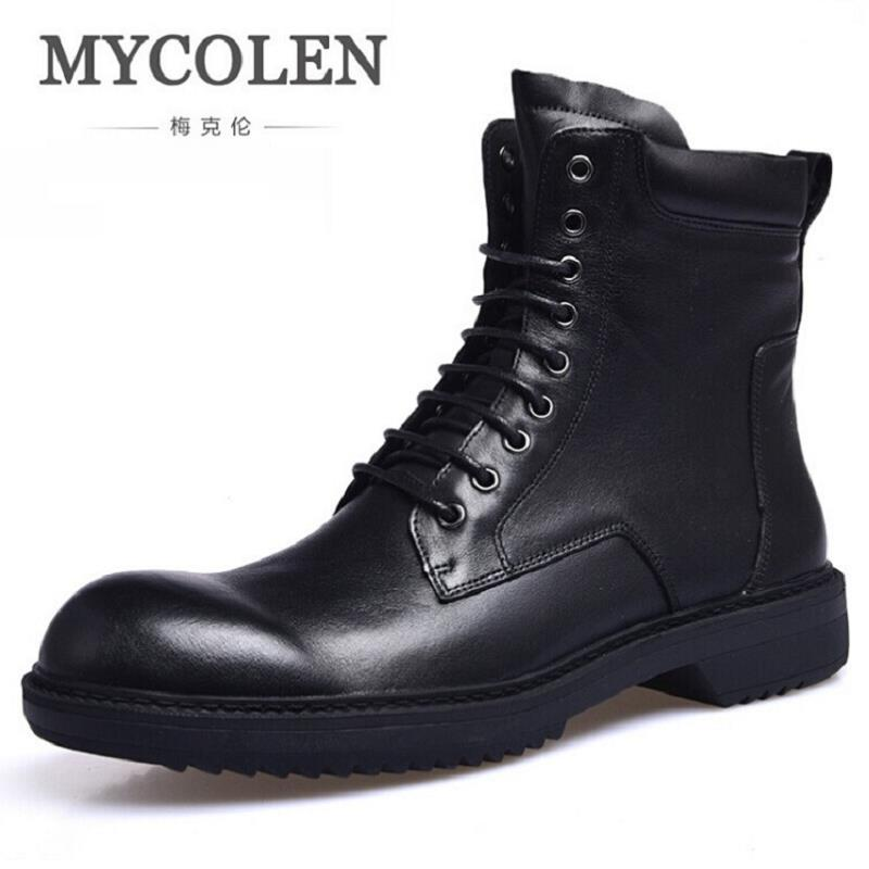 MYCOLEN Classic Genuine Leather Retro Boots Men High Top Martin Motorcycle Warm Fur Winter Shoes Snow Boots Botas Moto Hombre maden brand 2017 winter plush fur martin boots retro vintage men snow boots genuine leather designer high quality ankle boots