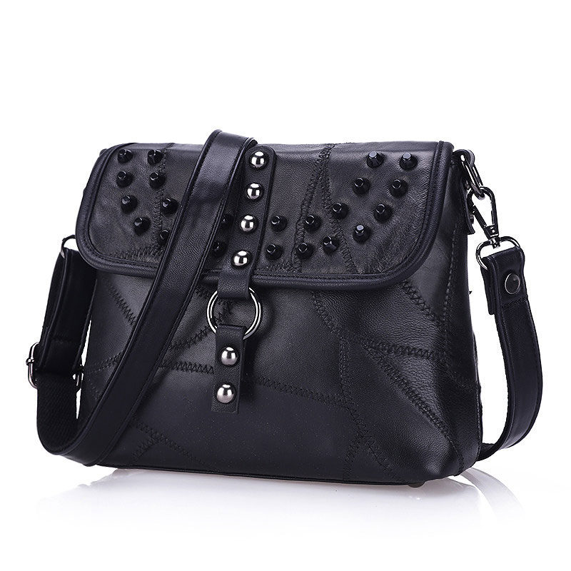 Edgy Rivet Real Leather Ladies Patchwork Bag Trendy Color matching Splicing Stylish Sheepskin Crossbody Bag Fashion