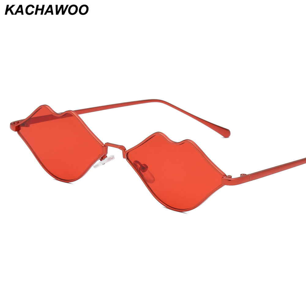 Kachawoo Wholesale 6pcs Lip Shaped Sunglasses For Lady Metal Frame Silver Mirror High Fashion Sun Glasses For Women Party Gift