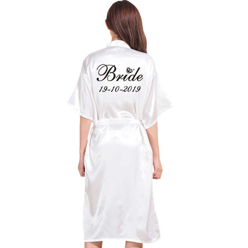 אישית כל טקסט ארוך גלימת אישיות חלוק עבור Bridedal מסיבת אמולציה משי רך בית חלוק רחצה לנשים קימונו גלימות