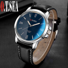 O.T.Sea Brand 2016 New Fashion Faux Leather Men Blue Ray Glass Quartz Analog Watches Casual Cool Watch W045