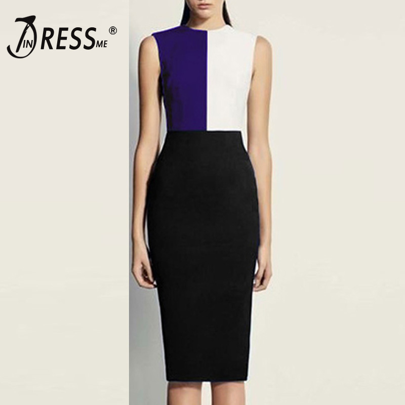 INDRESSME Fashion O Neck Bodycon Women Bandage Office Dress Solid Three Color Midi Sleeveless Spring Women