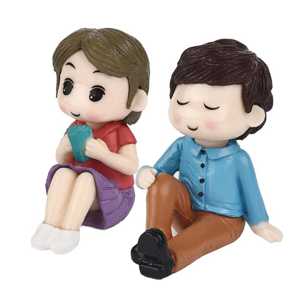 1 Set Sweety Liefhebbers Paar Stoel Beeldjes Miniaturen Fee Tuin Moss Terraria Hars Ambachten Bruiloft Woondecoratie Bright Luster