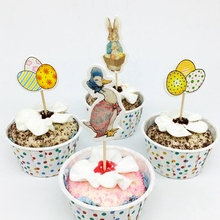 24pcs Easter Cartoon Cupcake toppers Pick Bunny Duck Goose Egg Basket Balloon Rabbit Kids Birthday Party cake flag Decorations