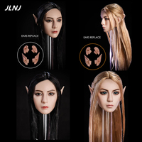 1/6 Scale Elf Girl Head Carved Detachable Ears Female Head Sculpt Model For 12 Inches Action Figure Body Accessories DIY Style