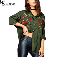 Floral Embroidered Blouse Shirt Women Casual White Nine Quarter Sleeve Blouses 2017 Autumn Loose Office Shirts