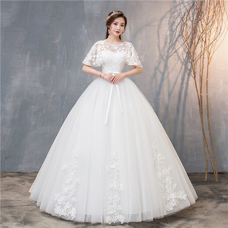 2019 New Batwing Sleeve O Neck Wedding Dresses Classic Off White Flower Lace Up Custom Made Wedding Gown Robe De Mariee L
