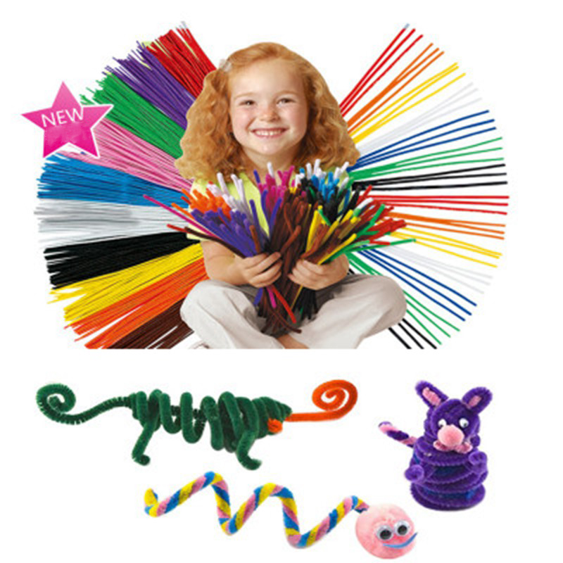 100Pcs Bendaroos Montessori Chenille Sticks Toys For Children Kid Pipe Cleaner Stems Craft Educational Toys Cleaner Stems Craft