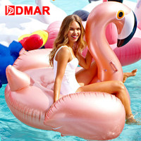DMAR 150cm 59inch Inflatable Flamingo Rose Gold Giant Pool Float Toys Swimming Ring Circle Sea Mattress Beach Party