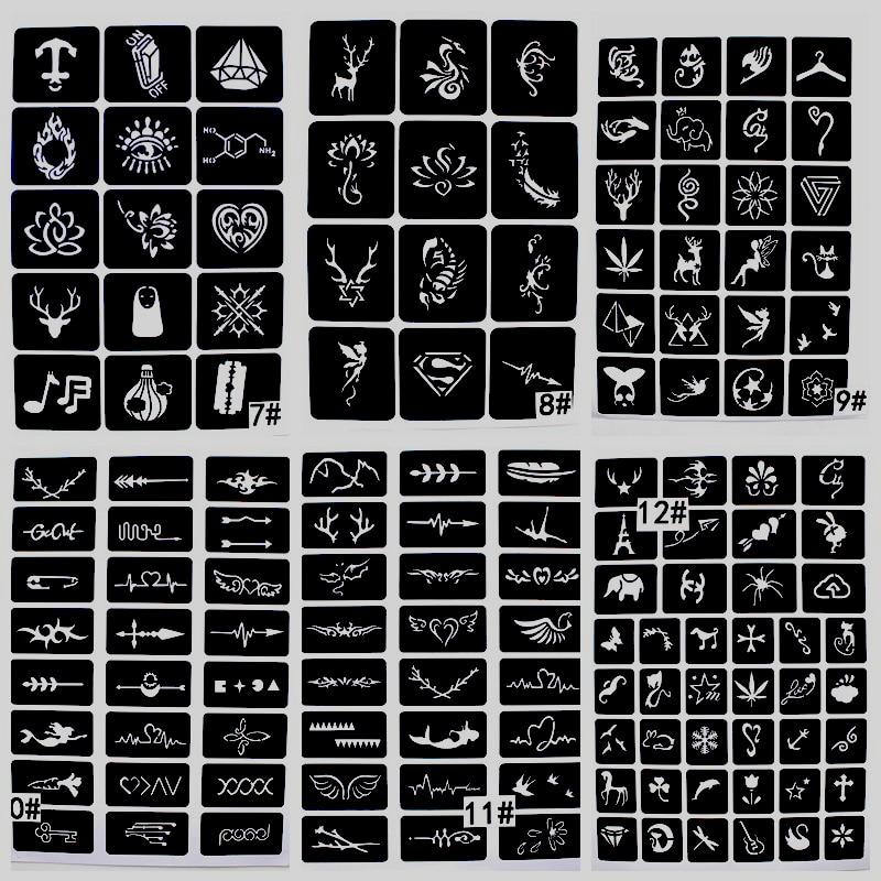 446pcs/Lot Reusable Sticker Tattoo Stencils Folder,Painting Template Airbrush Glitter Henna Tattoo Stencil Set Album Fixed Style