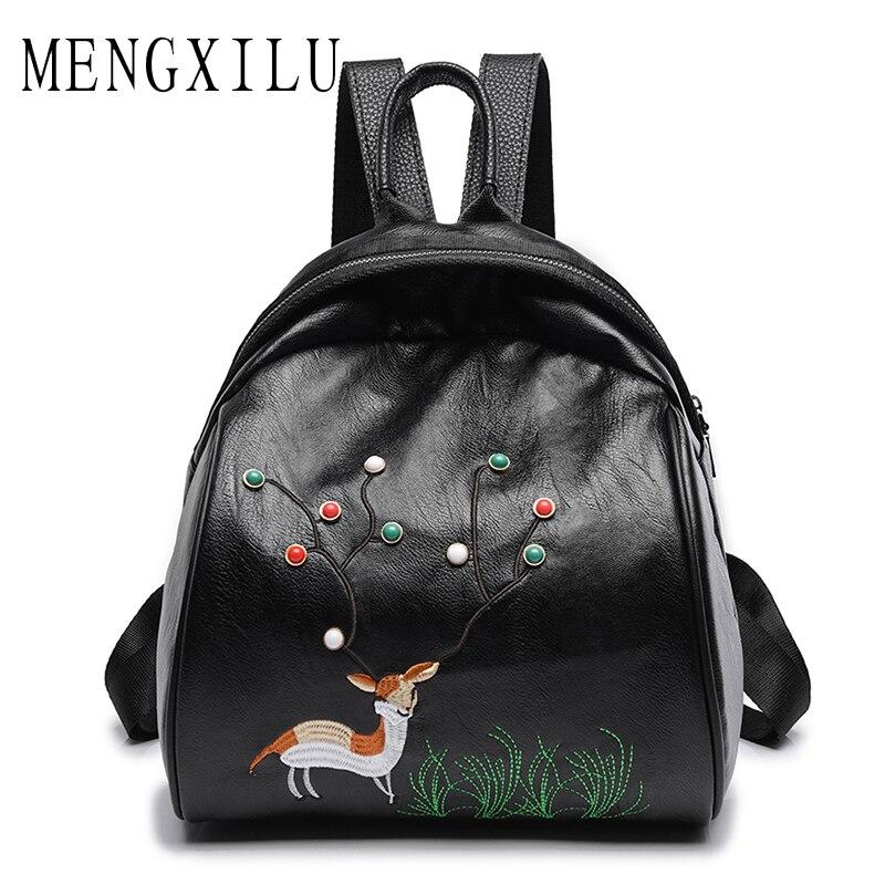 MENGXILU Deer Backpacks For Teenage Girls Hot Embroidery Women Bag Cute Back Pack High Quality Pu Leather Backpack Mochila Rivet