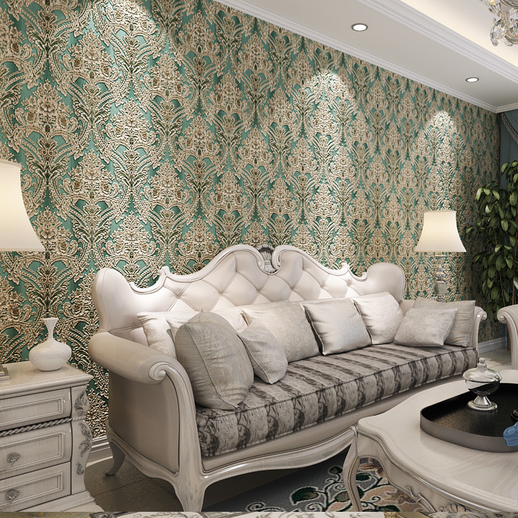 Luxury Gradient Color European Damask Wallpaper Decor Livingroom Home Wallcovering 3D Blue Gold Silver Gray купить недорого в Москве
