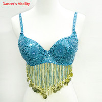 New Fashion New Women Dancer Sexy Twinkling Sequined Belly Dance Bra Top Beaded Fringe Dancing Costume