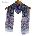 jzhifiyer YX109 45G 62*180cm+2*2CM Georgette Thin Very Soft Feel Paisley Material See-Though Vintage Sjaal Scarf Women Silk