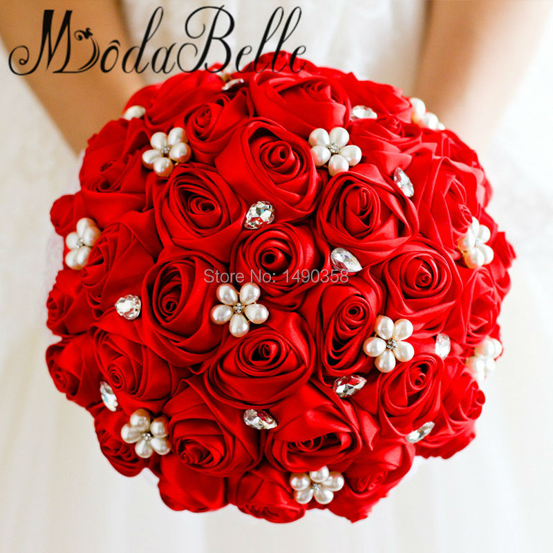Free-shipping-Red-Rose-flower-bridal-brooch-bouquet-Wedding-Bride-s-Jewelry-crystal-Pearl-Rhinestone-Cloth