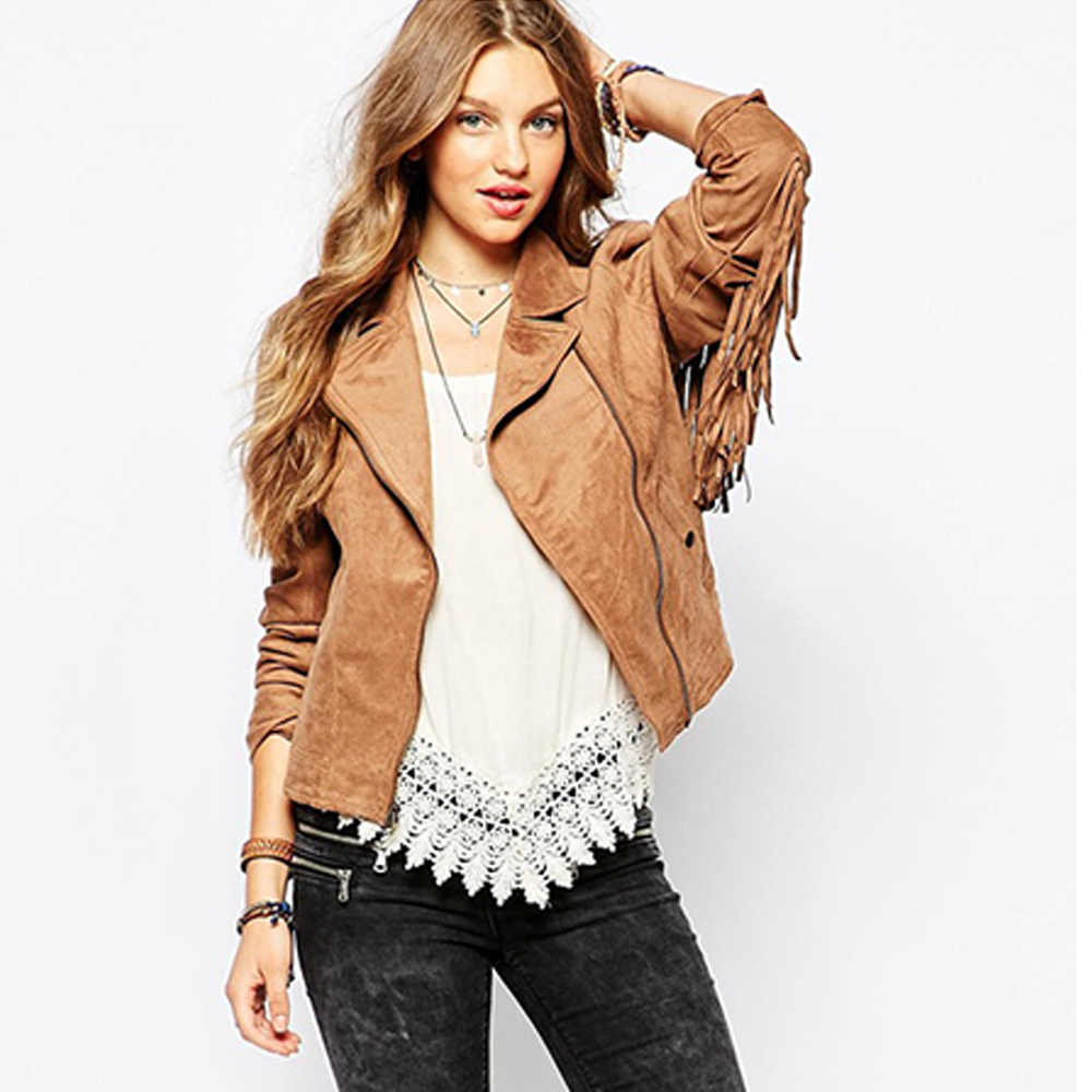 2019 women's hot sale fashion basic jackets button pockets tassel suede bomber jackets NEW winter coats Brown Tassel outerwear