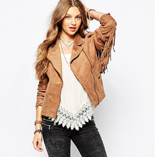 2018 wanita hot sale mode basic jaket tombol kantong rumbai suede bomber jaket BARU musim dingin mantel Coklat Rumbai pakaian luar