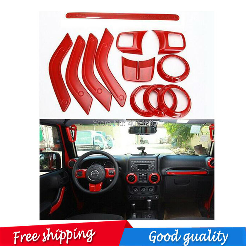 12 pic Interior Mouldings Full Set Interior Decoration Trim Kit with Special Mark Logo For Jeep Wrangler Cab 4 Door 2011 - 2015