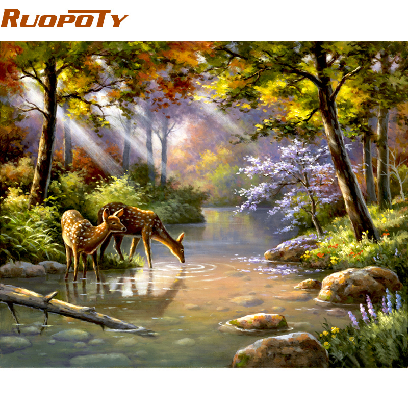 RUOPOTY Frame DIY Painting By Numbers Acrylic Paint On Canvas Sika Deer Forest Handpainted Oil Painting For Home Decor 40x50cm