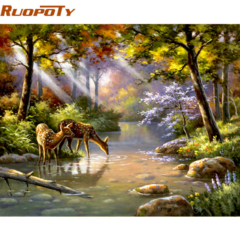 RUOPOTY Frame DIY Painting By Numbers Acrylic Paint On Canvas Sika Deer Forest Handpainted Oil Painting For Home Decor 40x50cm chenistory pink europe flower diy painting by numbers acrylic paint by numbers handpainted oil painting on canvas for home decor