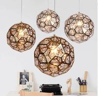 Modern Gold Copper Silver Etch Web Pendant Lights Tom Dixon Stainless Steel Diamond Polygon Pendant Lamp for Living Room